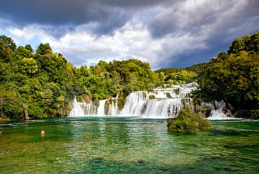Waterfalls in Krka National Park in southern Croatia, Europe