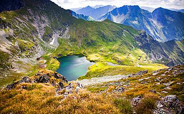 Lake Capra in the Fagaras Mountains in central Romania, Cartisoara, Sibiu County, Romania, Europe
