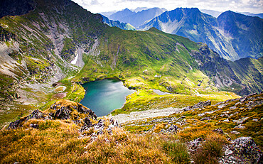 Lake Capra in Fagaras Mountains in central Romania, in Cârțișoara, Sibiu County