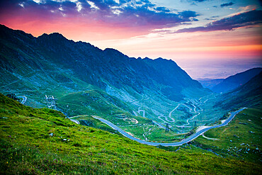 The Transfagarasean (DN7C), a paved mountain road crossing Fagaras Mountains in central Romania, Cartisoara, Sibiu County, Romania, Europe
