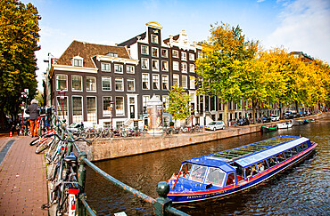 Beautiful cityscape of canals, Amsterdam, North Holland, The Netherlands, Europe