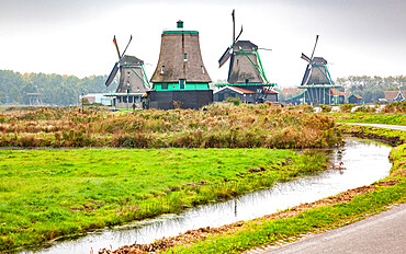 Zaanse Schans, a museum village with Dutch houses and windmills in Zaandam, North Holland, The Netherlands, Europe