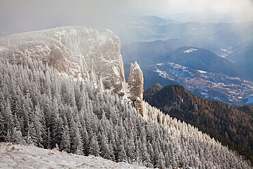 Ceahlau Massif in winter, Eastern Carpathians, Neamt County, Moldavia, Romania, Europe