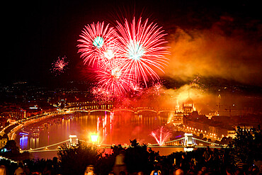 Fireworks Show over Budapest on 20th August (St. Stephen's Day), celebrating the foundation of the Hungarian state.