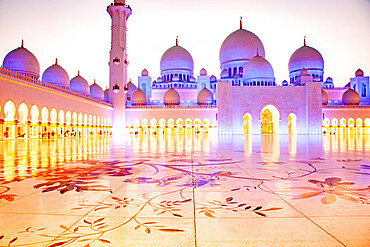 The Sheikh Zayed Grand Mosque, the largest mosque in the country, in Abu Dhabi, the capital city of the United Arab Emirates.