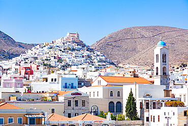 Ermoupoli, also known by the formal older name Ermoupolis or Hermoupolis on the island of Syros, in the Cyclades, Greece.