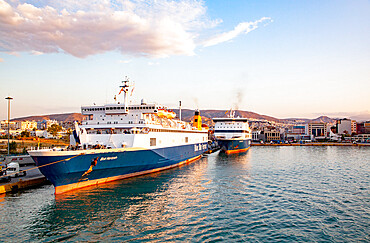 Ferries docked at Athens Piraeus port, Greece