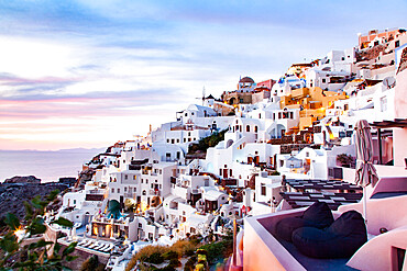 Scenic town of Oia, Santorini, Thira, Southern Aegean.