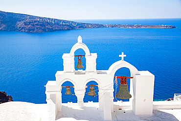 Traditional Greek architecture in Oia, Santorini, Thira, Southern Aegean.
