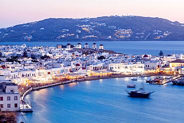 Scenic view over Mykonos town, Mykonos island, Cyclades, Aegean Sea.