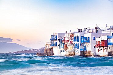 Little Venice in Mykonos, Mykonos Island, Cyclades, Aegean Sea, Greece