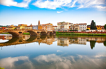 Bridge reflected in the River Arno, Florence, Tuscany, Italy, Europe - 1265-197