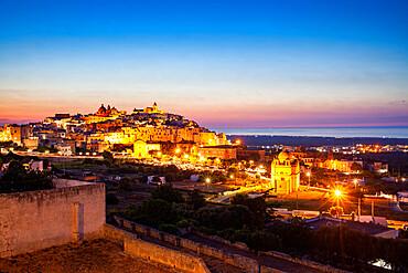 Ostuni at dusk, Province of Brindisi, Apulia, Italy, Europe