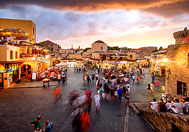 Hippocrates Square and Sokratous Street, Old Rhodes Town, UNESCO World Heritage Site, Dodecanese, Greek Islands, Greece