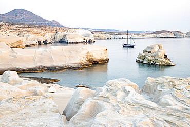Volcanic rock formations at Sarakiniko on north coast, Sarakiniko, Milos, Cyclades, Aegean Sea, Greek Islands, Greece, Europe