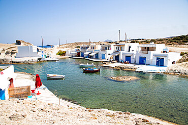Traditional fishermen's houses by the sea in Milos, Cyclades, Aegean Sea, Greek Islands, Greece, Europe