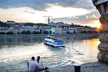Sunset over Buda side of the Danube, Budapest, Hungary.