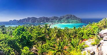 Panorama of Ko Phi Phi Don, beautiful tropical island in Thailand, Southeast Asia, Asia