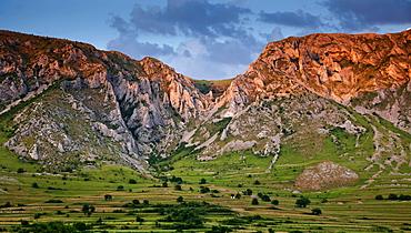 Panorama of Piatra Secuiului over Rimetea village in the Transcaului Mountains in western Transylvania, 25 km west of Turda, Romania, Europe