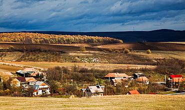 Savadisla Transylvanian village in autumn, Romania, Europe