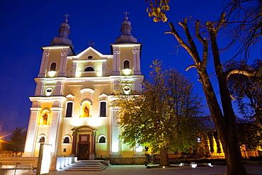 Church at night in Baia Mare, Maramures, Romania, Europe