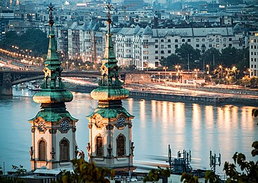 View over the River Danube at night in Budapest, Hungary, Europe
