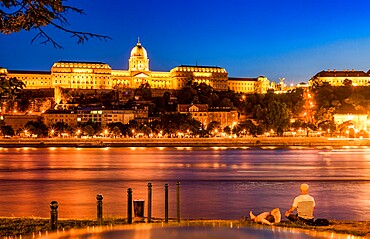Buda Castle (Royal Palace) at night, Budapest, Romania, Europe