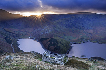 Haweswater reservoir at sunset, Lake District National Park, UNESCO World Heritage Site, Cumbria, England, United Kingdom, Europe