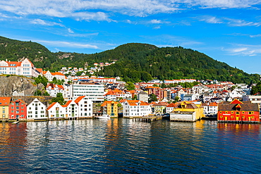 Bergen waterfront and skyline seen from the sea, Hordaland, Norway, Scandinavia, Europe