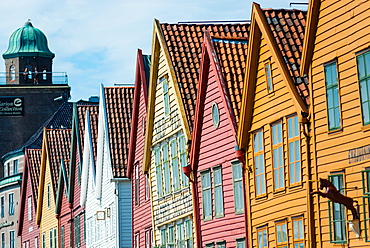Row of wooden houses, Tyske Bryggen, Hanseatic Quarter, UNESCO World Heritage Site, Bergen, Hordaland, Norway, Scandinavia, Europe