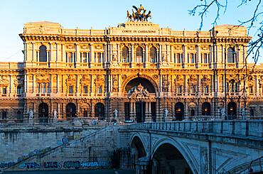 Corte Suprema di Cassazione (Supreme Court of Cassation) in Palazzo di Giustizia (Palace of Justice) at sunrise, Rome, Lazio, Italy, Europe