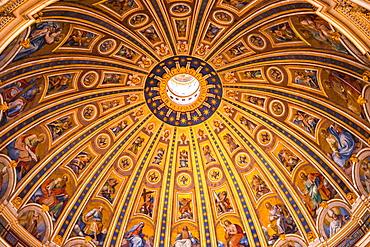 St. Peter's Basilica Cupola ceiling, Vatican City, Rome, Lazio, Italy, Europe