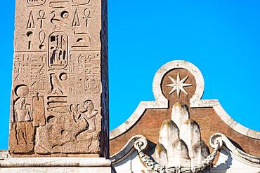 Egyptian obelisk or stone needle monument at the Piazza del Popolo (People Square), Rome, Lazio, Italy, Europe