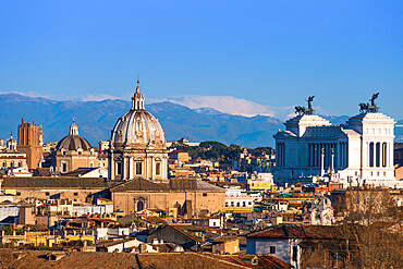 Rome city skyline with dome of Sant'Andrea della Valle and Vittorio Emanuele ll monument, from Janiculum Terrace, Rome, Lazio, Italy, Europe