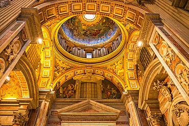 Minor Cupola ceiling detail, St. Peter's Basilica, Vatican City, Rome, Lazio, Italy, Europe