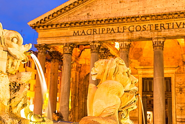 Fontana del Pantheon at dusk, commissioned by Pope Gregory XIII, with the Pantheon, UNESCO World Heritage Site, on the Piazza della Rotonda, Rome, Lazio, Italy, Europe