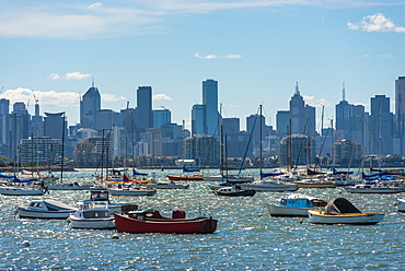 Views of Melbourne city skyline seen from Williamstown, Melbourne, Victoria, Australia, Pacific