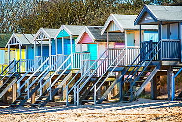 Colourful beach huts on Wells beach at Wells next the Sea on North Norfolk coast, Norfolk, East Anglia, England, United Kingdom, Europe