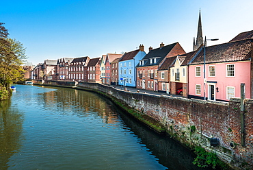 Colourful houses on the Quayside along the River Wensum, Norwich, Norfolk, England, United Kingdom, Europe