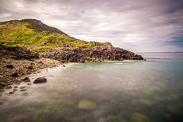 Porth Nanven, a rocky cove near Land's End, Cornwall, England, United Kingdom, Europe