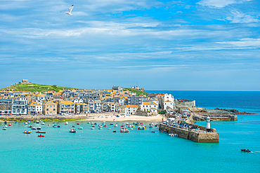 Panoramic views of St. Ives in Cornwall, England, United Kingdom, Europe