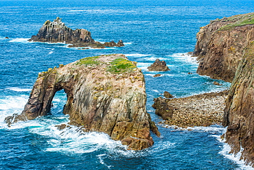 Enys Dodnan and the Armed Knight rock formations at Lands End, Cornwall, England, United Kingdom, Europe
