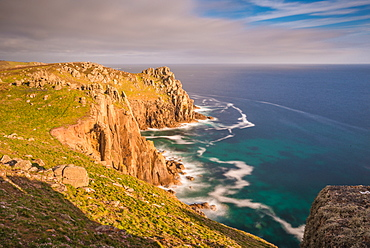 Sunset Zawn Trevilley and Carn Boel at Lands End on the tip of Cornwall, England, United Kingdom, Europe