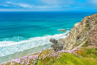 St. Agnes Heritage Coast scenery between Porthtowan and Chapel Porth Beaches in West Cornwall, England, United Kingdom, Europe