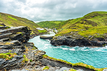 Dramatic coastal scenery looking towards the village of Boscastle from the top of Warren Point in West Cornwall, England, United Kingdom, Europe