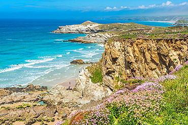 Spectacular clifftop coastal scenery at Newquay in West Cornwall, England, United Kingdom, Europe