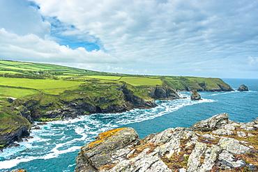 Coastal views from Willapark Lookout near Boscastle on the Atlantic coast of Cornwall, England, United Kingdom, Europe
