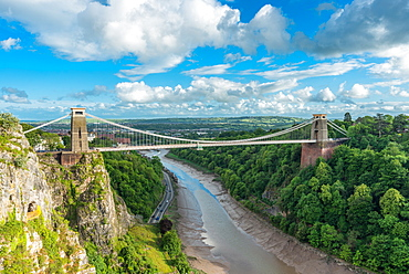Historic Clifton Suspension Bridge by Isambard Kingdom Brunel spans the Avon Gorge with River Avon below, Bristol, England, United Kingdom, Europe