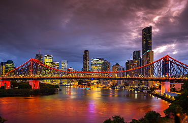 Story Bridge lit up after dark, Brisbane, Queensland, Australia, Pacific