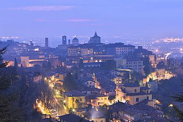 Twilight view of upper city of Bergamo, Lombardy, Italy, Europe